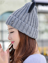 Autumn And Winter New Electronic Lantern Ear Elastic Single Cap Wool Hat Women Ear Protection Knit Cap