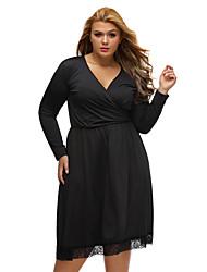 Women's Black Lace Hemline Wrap V Neck Long Sleeve Curvy Dress