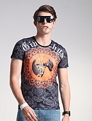 Herren Solide Patchwork Einfach Lässig/Alltäglich T-shirt,Rundhalsausschnitt Frühling Sommer Kurzarm Schwarz Seide Mittel