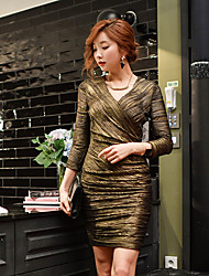 Women's Going out Party/Cocktail Club Sexy Vintage Sophisticated Bodycon Shift Sheath Dress,Solid V Neck Above Knee Long Sleeve Gold