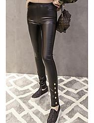 Feminino Skinny Chinos Calças-Cor Única Bandagem Vintage Cintura Alta Zíper PU Micro-Elástico Com Molas Outono