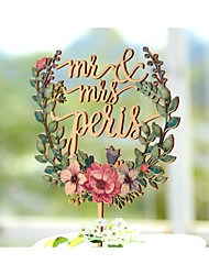 Wedding Cake Topper Printed with Floral Wreath and Personalized with Last Name