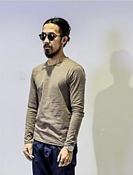 Tee-shirt Hommes,Couleur Pleine Décontracté / Quotidien simple Automne Hiver Manches Longues Col Arrondi Bleu Blanc Noir Marron Gris