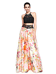 TS Couture® Formal Evening Dress - Two Pieces Color Block A-line Jewel Floor-length Lace Stretch Chiffon with Beading