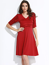 Women's Casual/Daily Simple Slim Ruched Sheath Pencil DressSolid V Neck Knee-length Sleeve