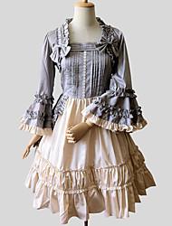 One-Piece/Dress Sweet Lolita Rococo Cosplay Lolita Dress Gray Solid Long Sleeve Knee-length Dress For Women Cotton