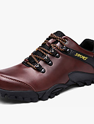 Men's Athletic Shoes Spring Fall Comfort PU Outdoor Flat Heel Lace-up Black Dark Brown Hiking