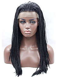 Braided Heat Resistant Synthetic Lace Front Wig Long Straight Hair Synthetic Hair Fiber Wigs