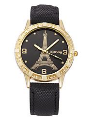 Women's Dress Watch Fashion Watch Large Dial Imitation Diamond Rhinestone Quartz Genuine Leather Band Vintage Eiffel Tower Casual Strap Watch
