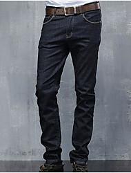 Masculino Reto Jeans Chinos Calças-Cor Única Casual Simples Pregueado Cintura Média Botão Algodão Micro-Elástico Com Molas Outono