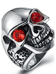 Men's Fashion Vintage Rock Style 316L Titanium Steel Skull Personality Engraved Zircon Jewelry Rings Casual/Daily 1pc
