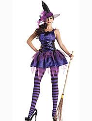 Fantasias de Cosplay Festa a Fantasia Baile de Máscara Mago/Bruxa Cosplay de Filmes Vestido Chapéu Dia Das Bruxas Carnaval Feminino