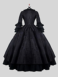 One-Piece/Dress Gothic Lolita Victorian Cosplay Lolita Dress Jacquard Long Sleeve Ankle-length Dress For Satin