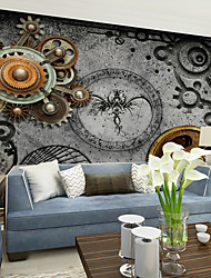 JAMMORY Large Fresco Heavy Metal Gear Retro Nostalgic Fresco Bar Cafe KTV Wallpaper XL XXL XXXL