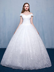 Princess Wedding Dress Floor-length Bateau Lace Tulle with