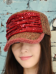 Women Winter Fashion Sequins Flat Top Cap National Wind Cap