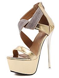 Mujer-Tacón Stiletto Plataforma-Confort Innovador Zapatos del club Light Up Zapatos-Sandalias-Exterior Vestido Fiesta y Noche-Ante-Negro