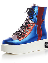 Women's Boots Spring Fall Winter Creepers Comfort Ankle Strap Cowhide Party & Evening Athletic Casual Platform Split Joint Zipper Lace-up