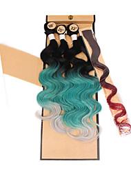 beautiful color synthetic body wave brazilian body wave 3pieces body wave 1piece clip hair 1piece closure
