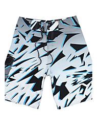 lazer dos homens de secagem rápida respirável calções de praia verde poliéster impressão / azul