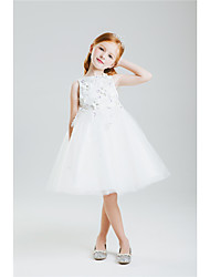 Princess Knee-length Flower Girl Dress - Cotton Lace Jewel with Bow(s) Embroidery Lace Pattern / Print Sequins
