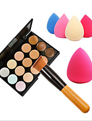 15 Colors Concealer Makeup Palette Wooden Handle BrushSponge Puff Makeup Set Base Foundation Face Cream Care Contouring