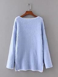 Damen Standard Pullover-Ausgehen Lässig/Alltäglich Einfach Street Schick Solide Blau Rosa Beige Rundhalsausschnitt LangarmKunst-Pelz
