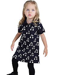 Cherry Matching Cotton Short-Sleeve Shift Dress in Navy