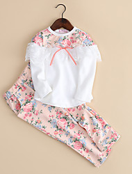 Girl's Cotton Fashion Spring/Fall Going out Casual/Daily Floral Lace Patchwork Tops & Pants Cartoon Two-piece Set Sport Suit