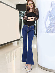 Women's Bootcut Jeans Pants,Party/Cocktail Simple Solid High Rise Zipper Cotton Micro-elastic Summer