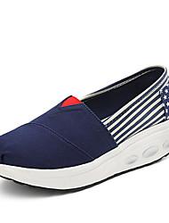 Damen-Loafers & Slip-Ons-Outddor Büro Lässig-Stoff-Keilabsatz Plateau-Creepers Kinderbett Schuhe-Rot Blau