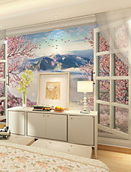 JAMMORY Large 3D Wallpaper Mural Seamlessly Simple Living Room Bedroom TV Wallpaper Outside Window Mountain Flower Landscape Background XL XXL XXXL