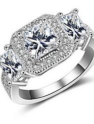 Jewelry Women Alloy Zircon Women Silver Square Ring