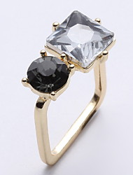 Women Black Rhinestone Gemstone Square Ring Dress Dinner Decoration Ring