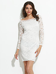 Women's Off The Shoulder|Lace Spring Fall Go out Casual Dresses Slim thin Solid Lace Sexy Boat Neck Long Sleeve Dress