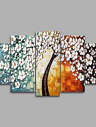 Canvas Set Unframed Canvas Print Abstract Floral Pachira Macrocarpa/Botanical European StyleFive Panels Canvas Horizontal Print Wall Decor For Home