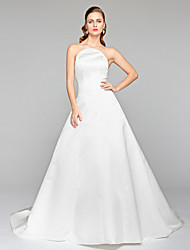 2017 Lanting Bride® A-line Wedding Dress - Elegant & Luxurious Open Back Court Train Strapless Satin with Bow