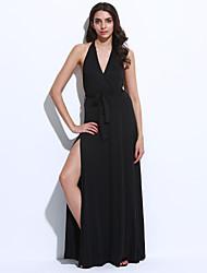 Feminino Bainha Vestido,Festa/Coquetel Sensual Sólido Decote V Longo Sem Manga Preto / Cinza / Verde Poliéster Verão Cintura Média