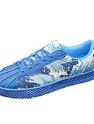 Da uomo Sneakers Comoda PU (Poliuretano) Primavera Autunno Casual Comoda Lacci Piatto Nero Grigio Rosso Blu 5 - 7 cm