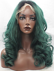 Dark Green Color Synthetic Hair Fiber Wigs Loose Wave Hair Black Root Heat Resistant Synthetic Lace Front Wig