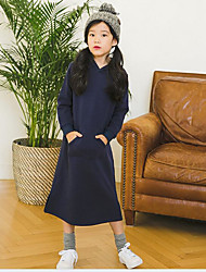 Girl's Casual/Daily Solid Dress,Rayon All Seasons Long Sleeve