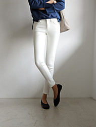 Women's Skinny Jeans Pants,Casual/Daily Simple Solid High Rise Zipper Polyester Micro-elastic Winter