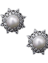 Stud Earrings Pearl Rhinestone Alloy Silver Jewelry Casual 1 pair
