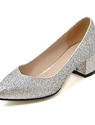 Women's Heels Spring Summer Fall Glitter Wedding Party & Evening Chunky Heel Block Heel Sequin Gold Black Silver Red