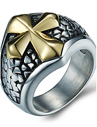Men's Fashion 316L Titanium Steel Personality Vintage Cross Jewel Rings Casual/Daily Accessory 1pc