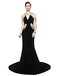 TS Couture Formal Evening Dress - Sparkle & Shine Elegant Celebrity Style Sheath / Column V-neck Floor-length Velvet with Sequins Pleats