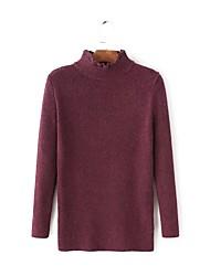 Damen Standard Pullover-Ausgehen Lässig/Alltäglich Einfach Street Schick Solide Rot Braun Grün Rundhalsausschnitt LangarmKunst-Pelz Acryl