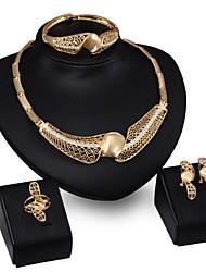Schmuck 1 Halskette 1 Paar Ohrringe 1 Armreif Ringe Strass Hochzeit Party Aleación 1 Set Damen Goldfarben Hochzeitsgeschenke