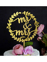 Wood Mr & Mrs Wedding Cake Topper Hand Painted in Gliiter Gold or Silver Fits 4-8 Inches Cakes
