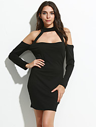 Women's Going out / Club Sexy Sheath DressSolid Halter Above Knee Long Sleeve Polyester Fall Mid Rise